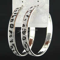 Charme mode offre spéciale mode nouveau givré argent grand Leapord motif boucles d'oreilles pour femmes hommes fête bijoux cadeau B106
