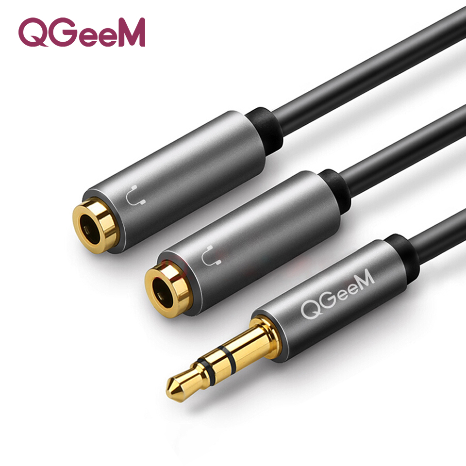 QGEEM Kopfhörer <font><b>Splitter</b></font> <font><b>Audio</b></font> Kabel 3,5mm Stecker auf 2 Weibliche Jack 3,5mm <font><b>Splitter</b></font> Adapter Aux Kabel für iPhone samsung MP3 Playe image