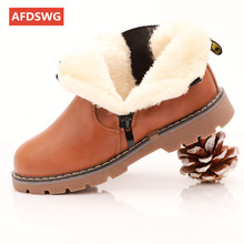 AFDSWG winter boots for girls thick plush martin short kids shoes boys black snow grey childrens