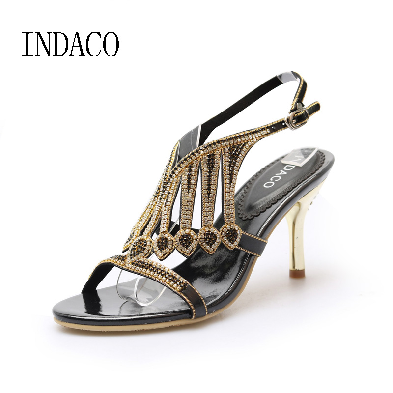 Leather High Heels Sandals Women Summer Shoes Gold Silver Elegant Rhinestone High-heeled Shoes Large Size 44 Chaussure Femme shofoo shoes elegant and stylish free shipping brown cashmere leather 14 5 cm high heeled sandals women s sandals size 34 45