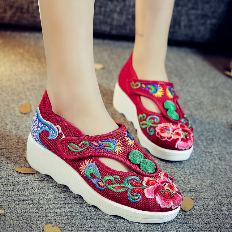 Veowalk Flowers Embroidered Women Ankle Buckles Canvas Flat Platforms Mid Top Elegant Ladies Soft Casual Old Beijing Shoes vintage embroidery women flats chinese floral canvas embroidered shoes national old beijing cloth single dance soft flats