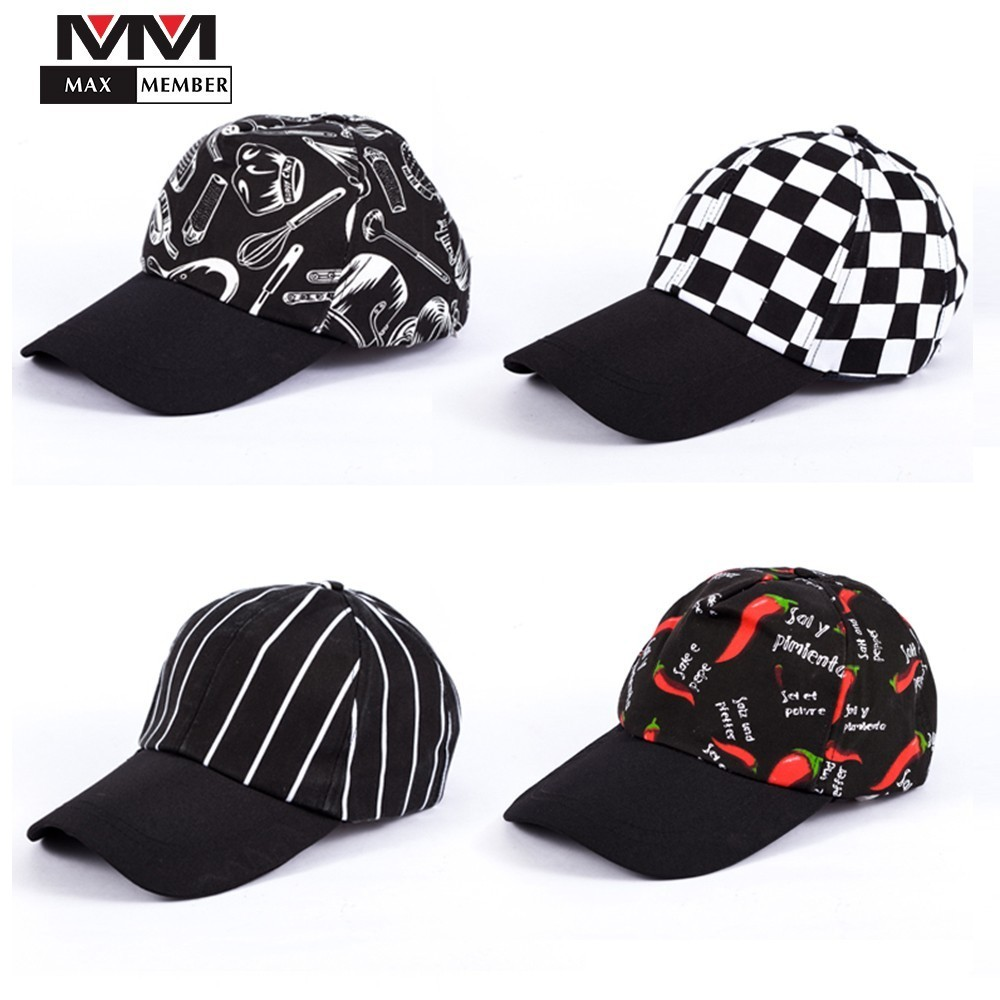 Unisex Restaurant Kitchen Chef Cooking Work Printing Caps Cafe Bakery Waiter Waitress Breathable Workwear Sports Hats Sun Proof