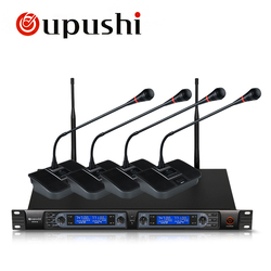 Oupushi HY314 4 Channel Wireless  Microphone High Sensitivity UHF & PPL Condenser Conference Meeting Microphone