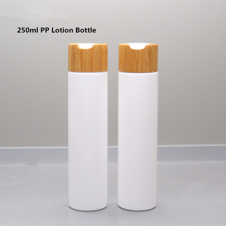 250ml White Plastic Cosmetic Emulsion Bottle with Bamboo Press disc cap Empty Travel Hair Tonic Shampoo