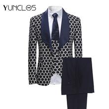 YUNCLOS 2018 New 3 PCS Weaving Men's Suits Classic Polka Business Suits Tuexdos Wedding Party Dress Casual Slim Suit Tuexdos