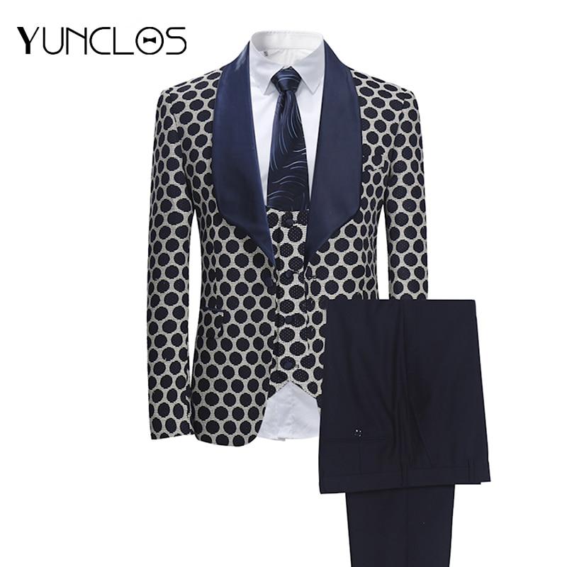 YUNCLOS 2019 New 3 PCS Weaving Men's Suits Classic Polka Business Suits Tuexdos Wedding Party Dress Casual Slim Suit Tuexdos