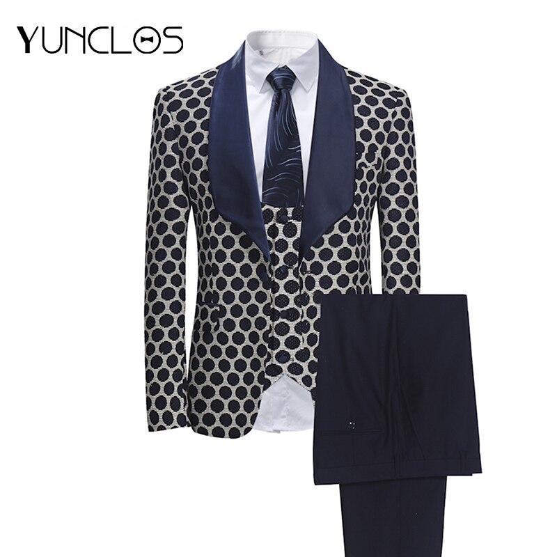 a8eeac4ebd YUNCLOS 2019 nuevo 3 piezas tejer trajes para hombres clásico de trajes de  negocios Tuexdos