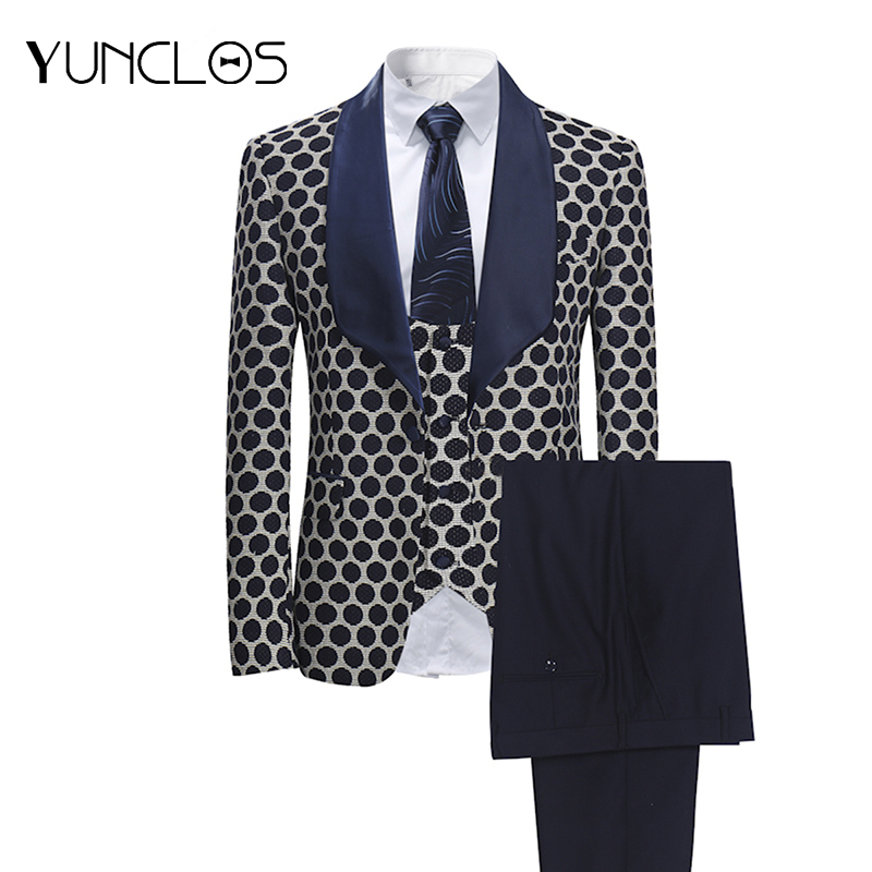 YUNCLOS EU Size New 3 PCS Weaving Men s Suits Classic Polka Business Suits Tuexdos Wedding
