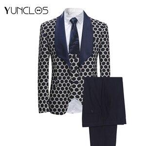 Image 1 - YUNCLOS ab boyutu yeni 3 adet dokuma erkek takım elbise klasik Polka iş elbisesi Tuexdos düğün parti elbise rahat ince takım elbise tuexdos