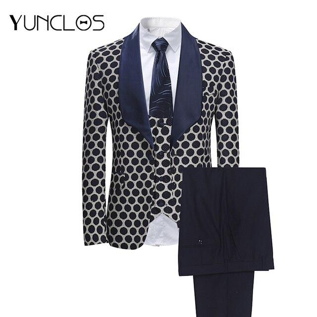 YUNCLOS ab boyutu yeni 3 adet dokuma erkek takım elbise klasik Polka iş elbisesi Tuexdos düğün parti elbise rahat ince takım elbise tuexdos