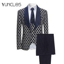 YUNCLOS ue rozmiar nowy 3 sztuk tkania garnitury męskie klasyczne Polka garnitury biurowe Tuexdos wesele sukienka Casual garnitur Slim fit Tuexdos