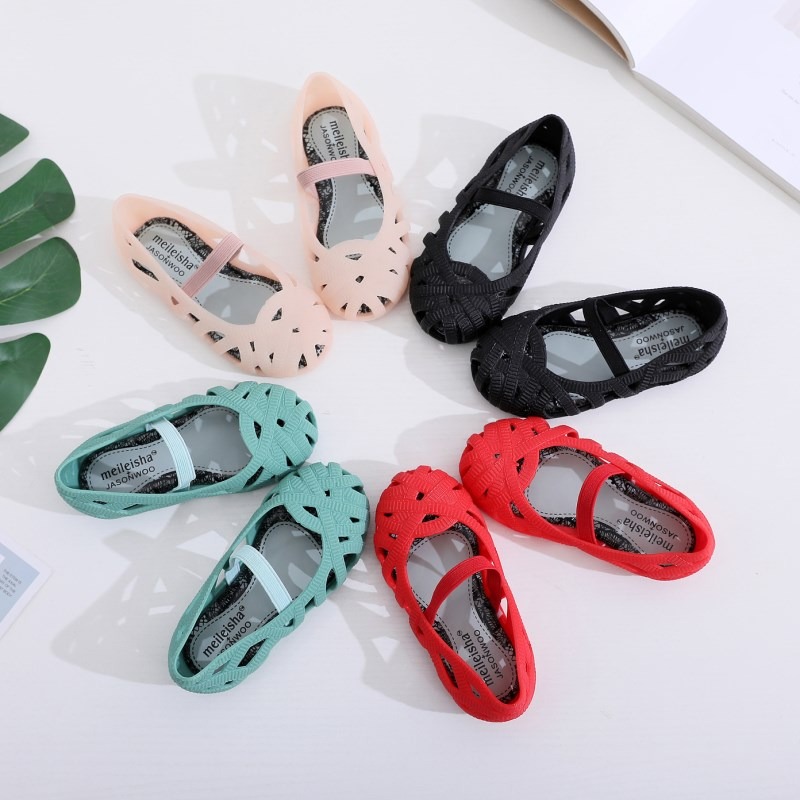 Mini Melissa 2020 New Mini Girls Shoes Crystal Jelly Sandals Children Hollow Shoes Toddler Girls Kids Sandals Princess