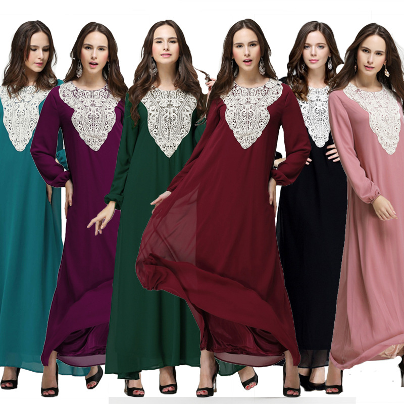 Plus Size Women Muslim Dress Chiffon Abaya For Women Long Sleeve Long Maxi Dress Casual Kaftan Hijab Dress Vestidos