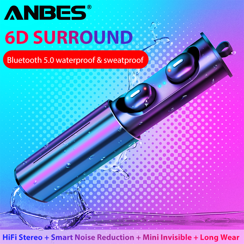 ANBES <font><b>Mini</b></font> <font><b>T1</b></font> <font><b>TWS</b></font> <font><b>V5.0</b></font> <font><b>Bluetooth</b></font> <font><b>Earphone</b></font> <font><b>3D</b></font> True Wireless Stereo Earbuds With Mic HiFi Deep Bass Sound Cordless Dual Headset image