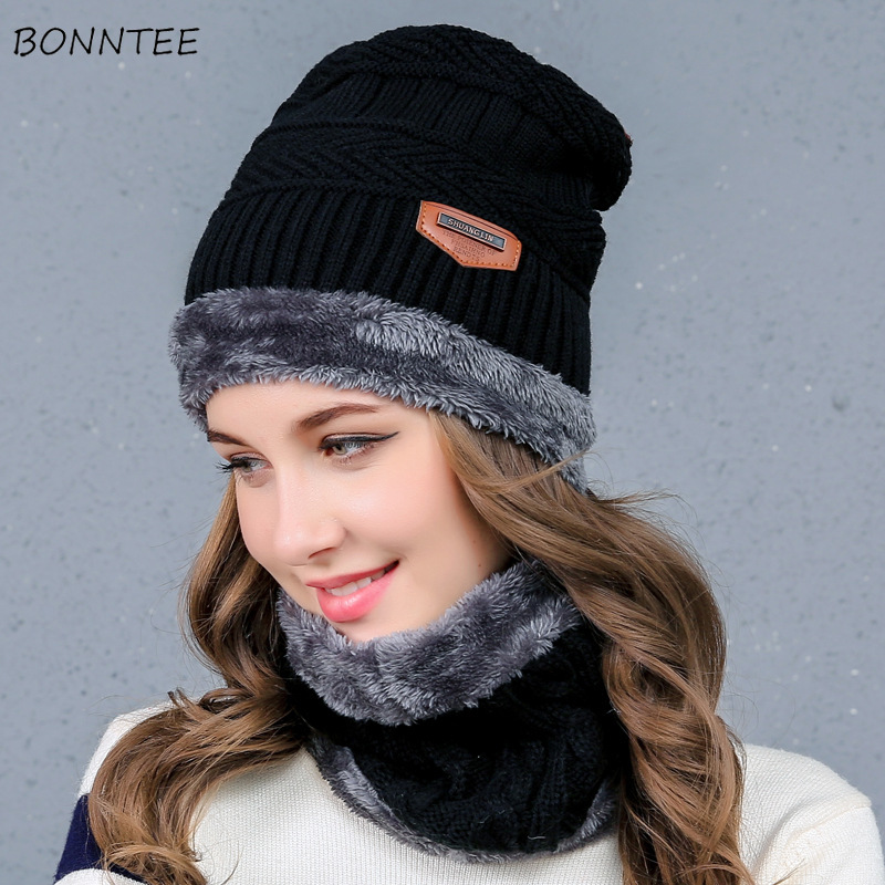 Scarf And Hat Set Women Solid Simple Trendy Knitted Plus Velvet Wool Warm Hats Korean Style Womens Soft Thick Warm Ring Scarfs
