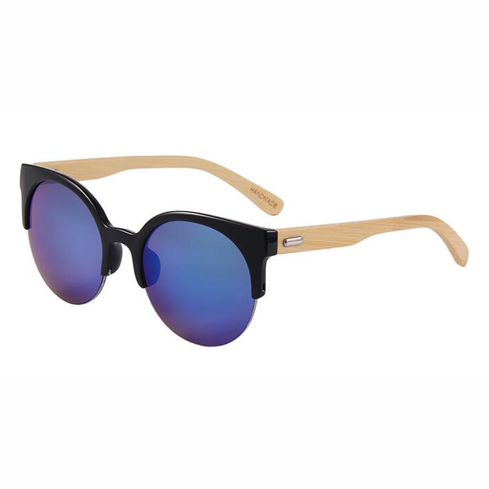 BerWer New women Men Fashion Bamboo Sunglasses plastic frame with bamboo temples