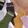 2016 зима новый женские носки оригинальный дизайн высокого класса пользовательских жемчужина бисером хлопок носки для женщин подарочные носки 6 цветов