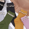2016 winter new women's socks original design high-end custom pearl beading cotton socks for women gift socks 6 colors