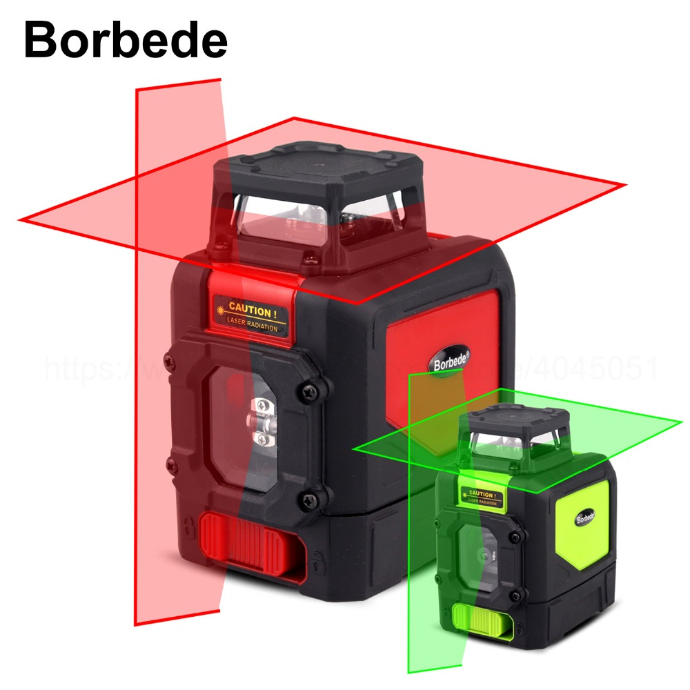Borbede 5 Lines Laser Level Red Green Beam 360 Horizontal And Vertical Self Leveling Adjustable Portable