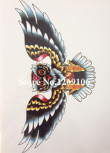 21 X 15 CM Sized Big Owl Sexy Cool Beauty Tattoo Waterproof Hot Temporary Tattoo Stickers#23