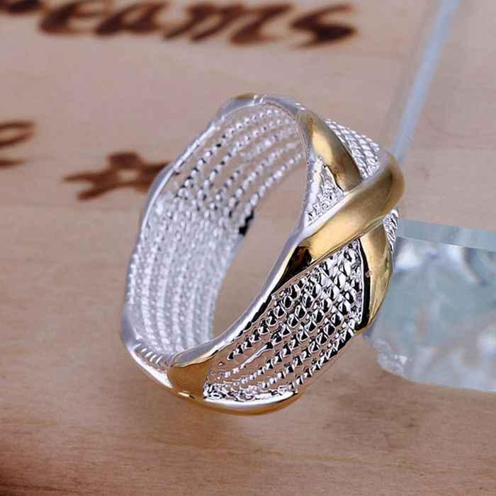 เงิน 925 แหวนแฟชั่นแยกสี X เงินเครื่องประดับ Ring แหวนผู้หญิงแหวนนิ้วมือของขวัญ SMTR013