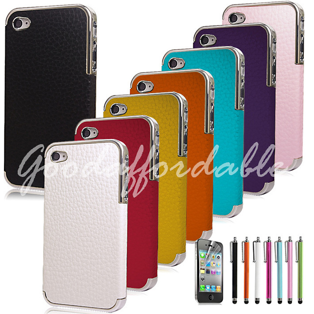 Free shipping!Deluxe Leather Chrome Hard Case Cover For iPhone 4 4S