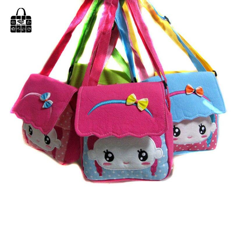 RoseDiary Lona cubierta de dibujos animados muñeca Niños Bolsos nuevos bolsos de moda bolsa de Mensajero bandolera para kindergarten niña