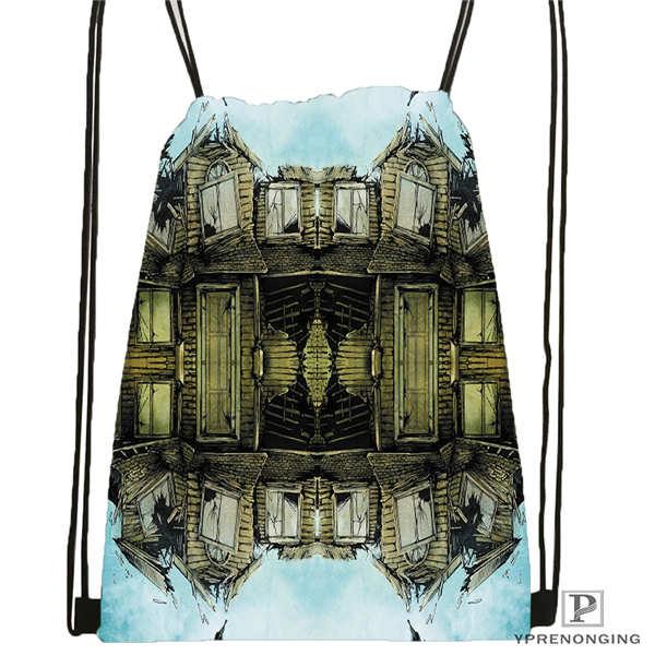 Custom Pierce-The-Veil Drawstring Backpack Bag Cute Daypack Kids Satchel (Black Back) 31x40cm#180611-03-104