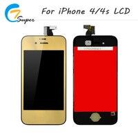 Caliente-verdad para el iPhone 4 4S espejo LCD pantalla táctil con digitizador Asamblea oro reemplazo de la contraportada + botón de inicio