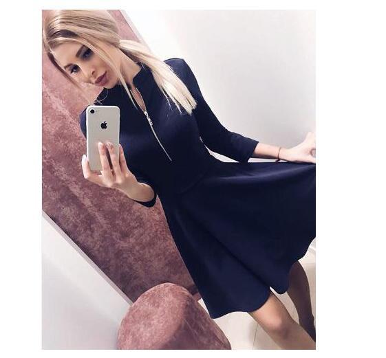 2019 Модные женские бюст платье с молнией Твердые Плиссированные v-образным вырезом сексуальные женские платья вечеринка Bodycon платье vestidos