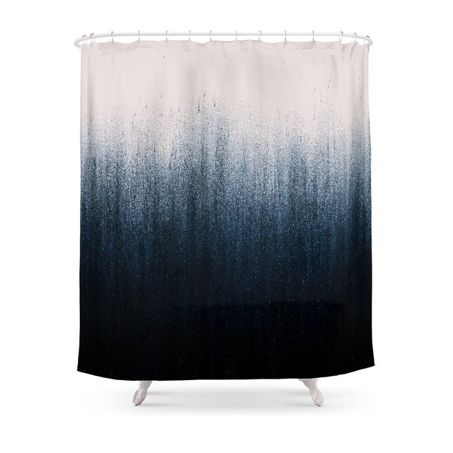 Jean Ombre Shower Curtain Polyester Fabric Bathroom Home Waterproof ...