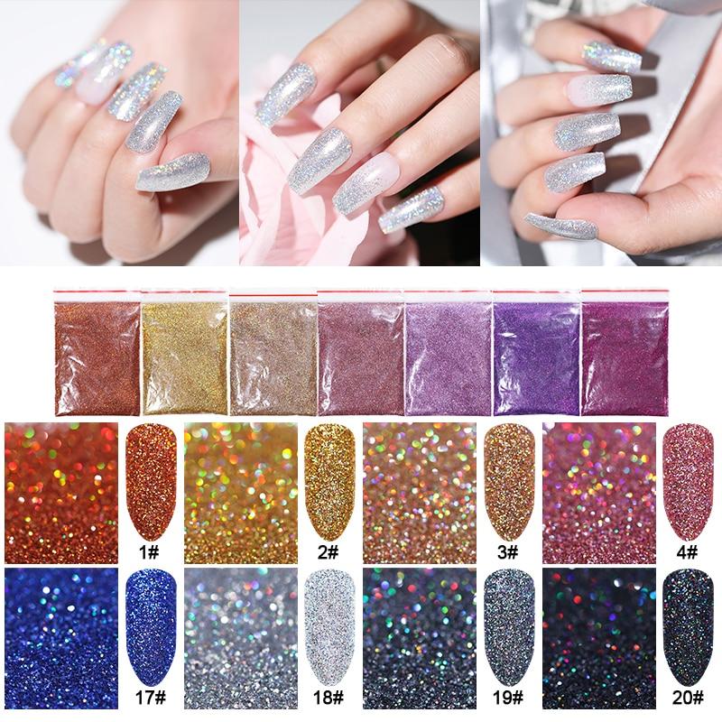 5g Holo Colorful Nail Glitter Powder Sliver Purple  Shimmer  Nail Art Decoration Shining Nails Tips