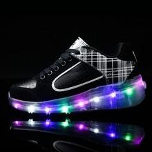 PU leather-based Single Wheel Glowing Sneaker LED Light Casual Shoes Boys Girls Little Kids/Big Kids Flashing Board Rechargeable 28-40
