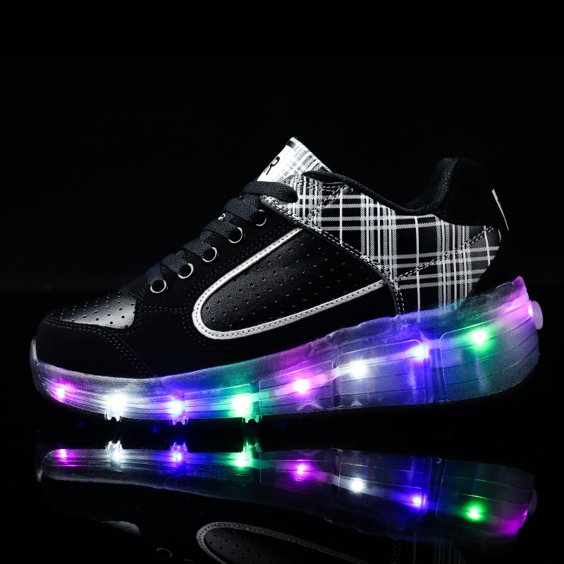 PU leather Single Wheel Glowing Sneaker LED Light Casual Shoes Boys Girls Little Kids/Big Kids Flashing Board Rechargeable 28-40
