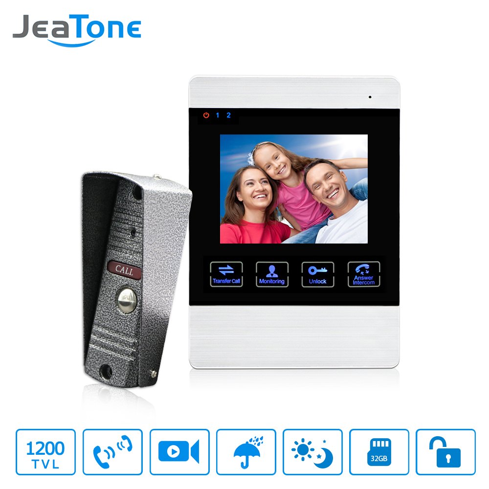 JeaTone 4 Inch HD Led Video Door Intercom System Door Bell 1200TVL Camera Automatic Video font