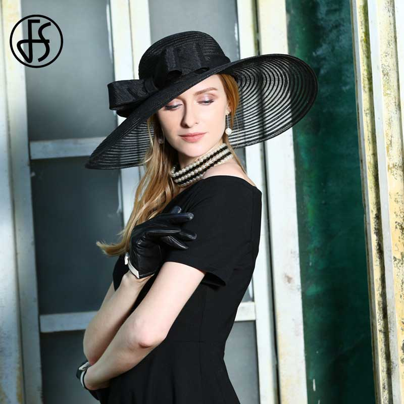FS Chapeau d'été femmes plage Chapeau de soleil avec Bowknot élégant grand large bord Panama chapeaux noir église visière disquette Fedoras Chapeau Femme