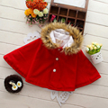 Autumn Fashion Kids Babys Hooded Cloak Girls Winter Outerwear Coat Poncho Kids' Fleece Cape, 2 Colors for Choose