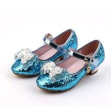 Enfants Nouveau Haut Talon En Cuir Shoes Filles Princesse Perle Paillettes Shoes Enfants Fille Boucle Sangle Papillon Parti Shoes C88