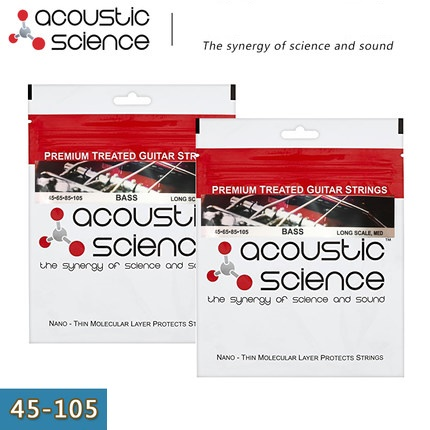 Acoustic Science Premium Treated Nickel Steel Bass Guitar Strings, 4-strings, Long Medium, 45-105, Made in USA rotosound rs66lc bass strings stainless steel