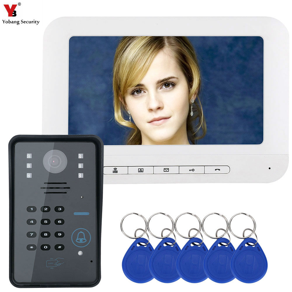 Yobang Security RFID Password 7 Wired Video Intercom Video Doorbell With Outdoor Camera 1000TVL Visual Intercom