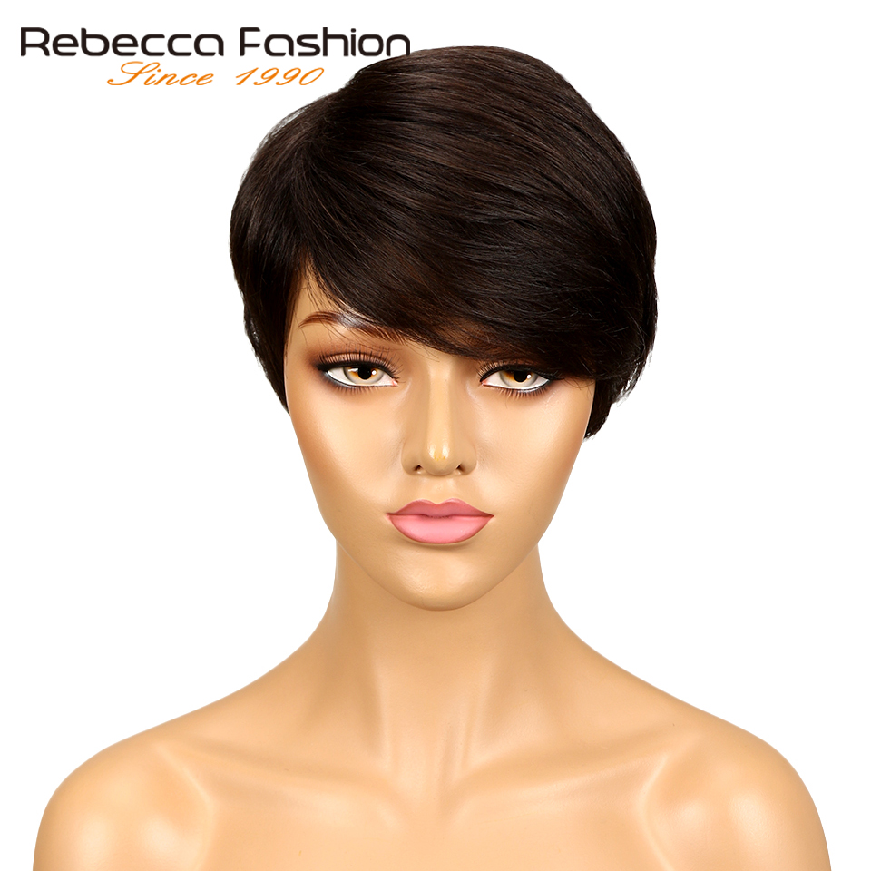 Rebecca Hair Dark Brown Straight Hair Short Wig Machine Made Brazilian Human Hair Wigs For Black Women Color #2 Free Shipping(China)
