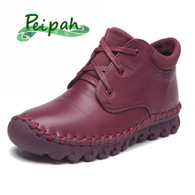 PEIPAH Women Ankle Boots Genuine Leather Women Shoes Autumn Winter Boots For Woman Handmade lace Up Round Toe Martin boots цены онлайн