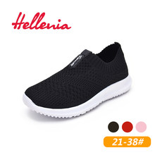 Helleniagirls breathable air mesh casual flats size 21-38 light walking summer kid shoes children girls Red Pink Black slip on(China)