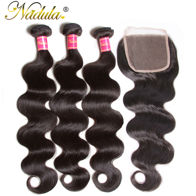 Nadula Hair Brazilian Body Wave Bundles With Closure Human Hair 4*4 Free Part Lace Closure 3Bundles Remy Hair Free Shipping