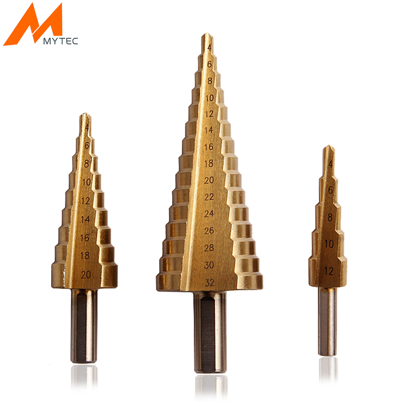 MYTEC 3pcs Step Drill Bits 3-12mm/4-12mm/4-20mm Cone Drill Bit Set For Metal Wood  Drilling Cutting Power Tools new 10pcs jobbers mini micro hss twist drill bits 0 5 3mm for wood pcb presses drilling dremel rotary tools