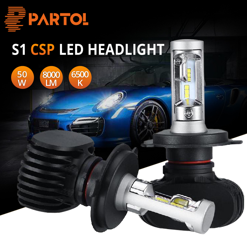 Partol S1 H4 H7 9005 9006 H11 LED Car Headlight Bulbs Auto LED Head Lamp Hi-Lo Beam 50W 8000LM 6500K 12V 24V Offroad 4x4 truck car led headlight 9005 9006 h4 h7 h11 50w cob 6500k 12v 24v auto headlamp bulbs all in one auto driving head light lamp kit