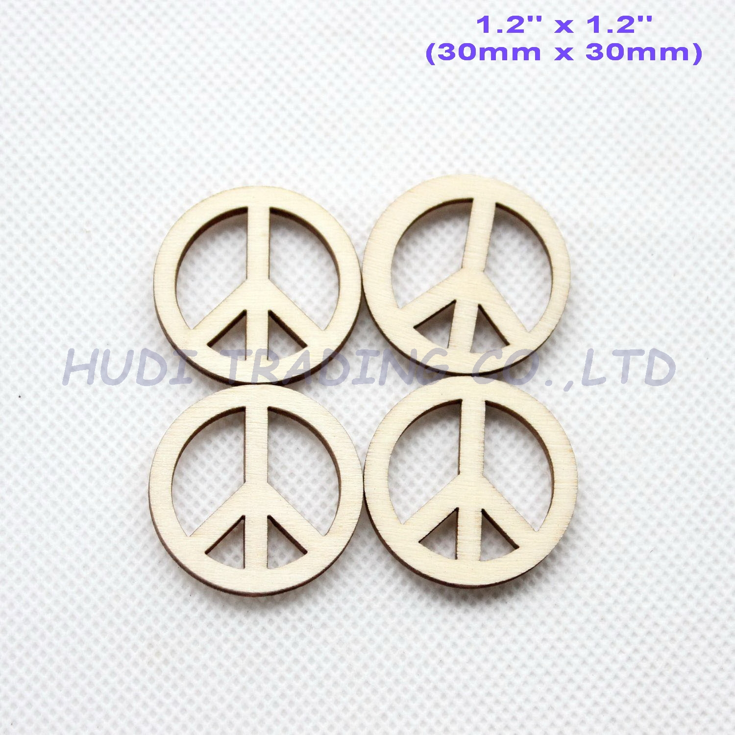 Blank Peace-Sign Wooden Supplies-Ct1425b 30mm Favor-Crafts Natural Ornaments 50pcs/Lot
