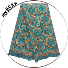 Teal Green Nigerian Wedding Lace Fabric Blue Beaded African French High Quality 2018 New Latest 3D Laces