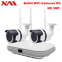 2CH 3MP Wireless Security Camera System CCTV WIFI NVR Kit 3MP IR Outdoor Night Vision Camera Home Video Surveillance