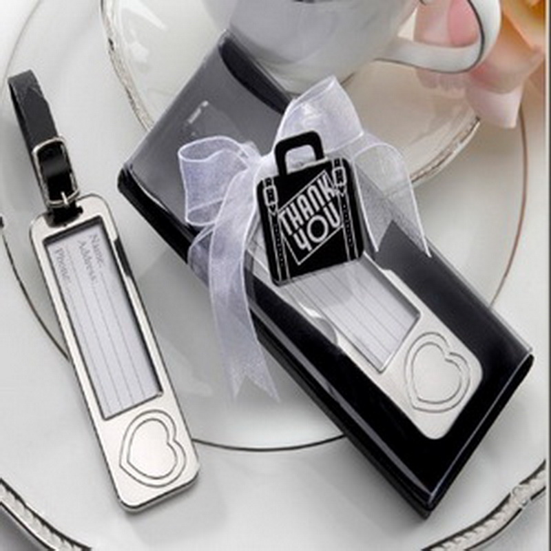 100pcs/Lot+Elegant Chrome Luggage Tag Heart Love Baggage Tags Travel Wedding Favors&Bridal Shower Favors and Gift +FREE SHIPPING